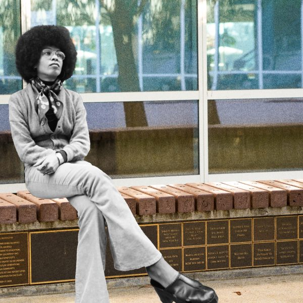 Photo illustration of a young Angela Davis sitting on the current CSUF campus.